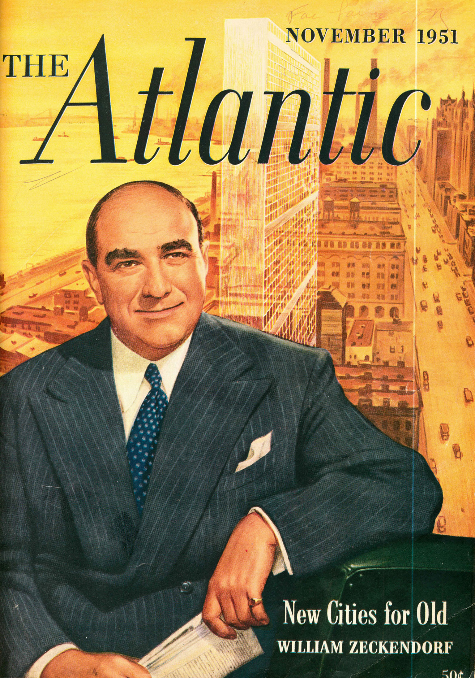 William Zeckendorf on the cover of Atlantic Monthly (November 1951).