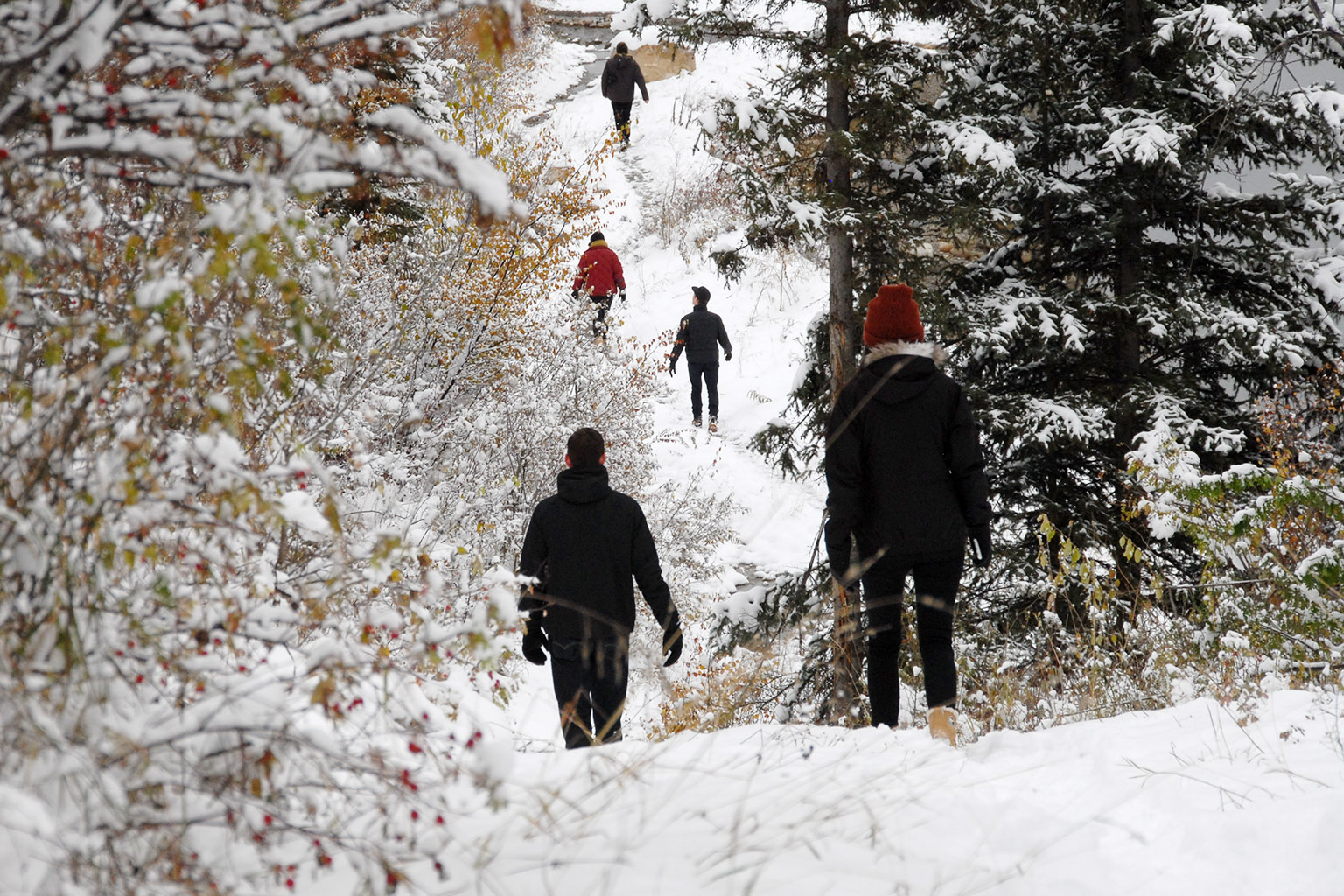 Students walking through Hudon's Hope backcountry
